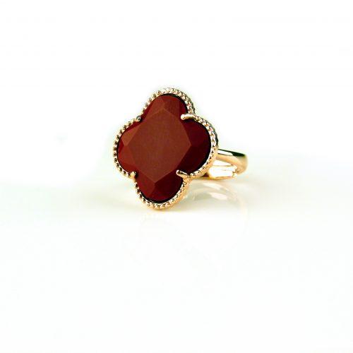 zilveren ring roosgoud verguld koraal rode steen klaver bloem