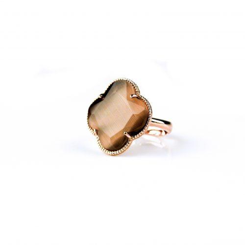zilveren ring roosgoud verguld bruine taupe steen klaver bloem