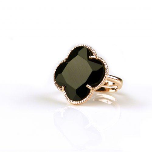 zilveren ring roosgoud verguld zwarte steen klaver bloem