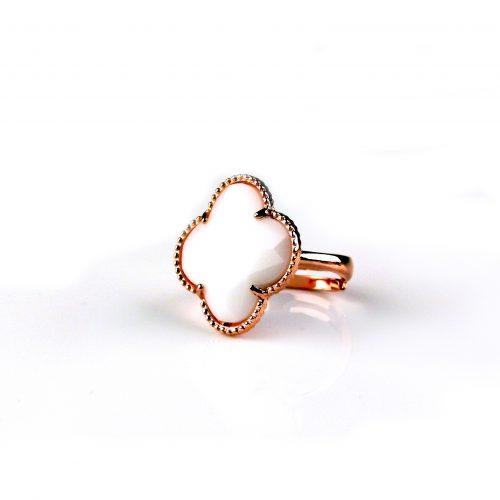zilveren ring roosgoud verguld witte steen klaver bloem