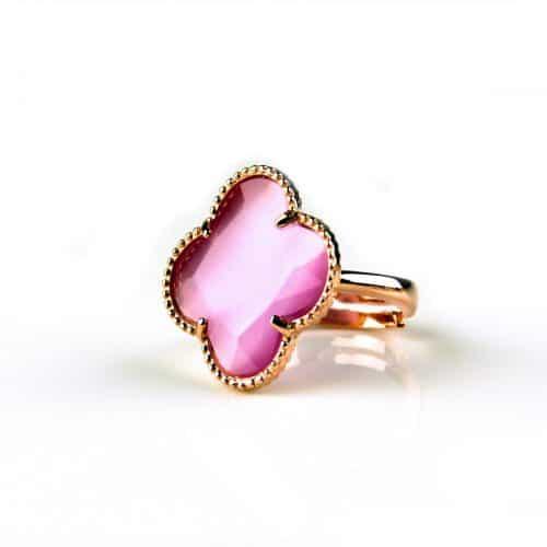 zilveren ring roosgoud verguld roze steen klaver bloem