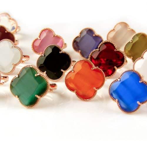 zilveren ringen roosgoud verguld gekleurde stenen klaver bloem