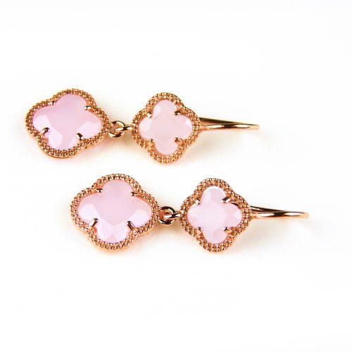 oorringen oorbellen in zilver roosgoud verguld met roze klavers bloemen