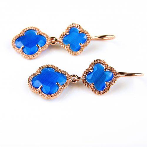 zilveren oorbellen oorringen roosgoud verguld met kobalt blauwe klavers bloemen