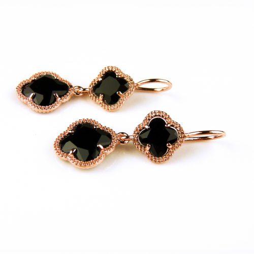 zilveren oorbellen oorringen roosgoud verguld met zwarte klavers bloemen