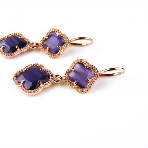 zilveren oorbellen oorringen roosgoud verguld met paarse klavers bloemen
