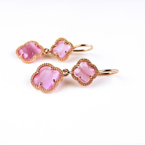 zilveren oorbellen oorringen roosgoud verguld met roze klavers bloemen