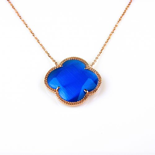 korte zilveren ketting roosgoud verguld met kobalt blauwe steen klaver bloem