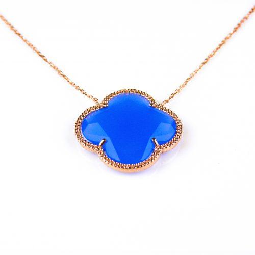 korte zilveren ketting roosgoud verguld met blauwe steen klaver bloem