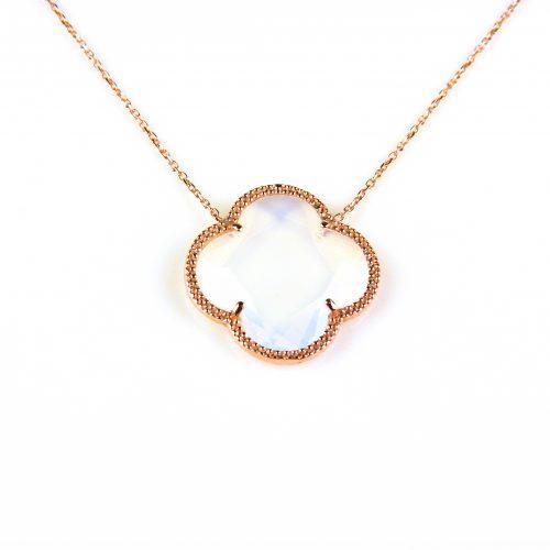 korte zilveren ketting roosgoud verguld met opaal steen klaver bloem