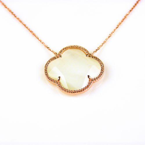 korte zilveren ketting roosgoud verguld met parelmoer steen klaver bloem