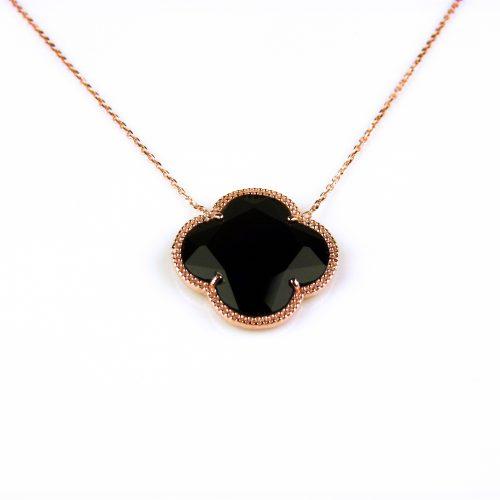 korte zilveren ketting roosgoud verguld met zwarte steen klaver bloem