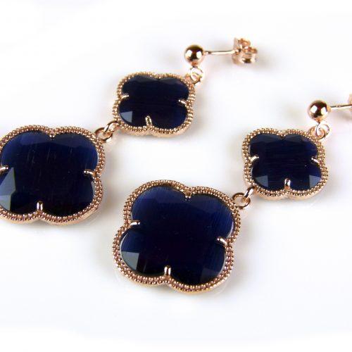 zilveren oorringen oorbellen roosgoud verguld met donker blauwe stenen bloemen klavers