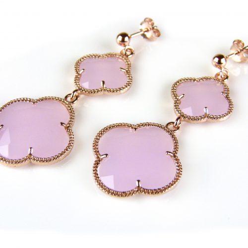 zilveren oorringen oorbellen roosgoud verguld met licht roze stenen bloemen klavers