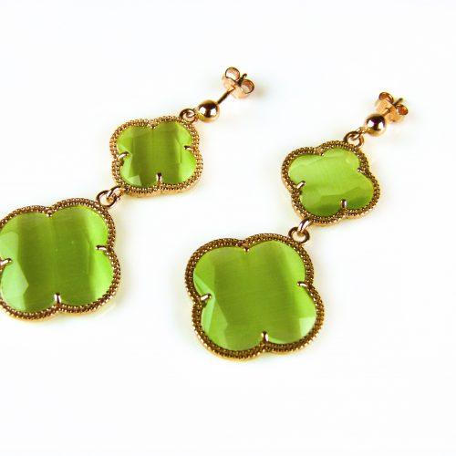 zilveren oorringen oorbellen roosgoud verguld met groene stenen bloemen klavers