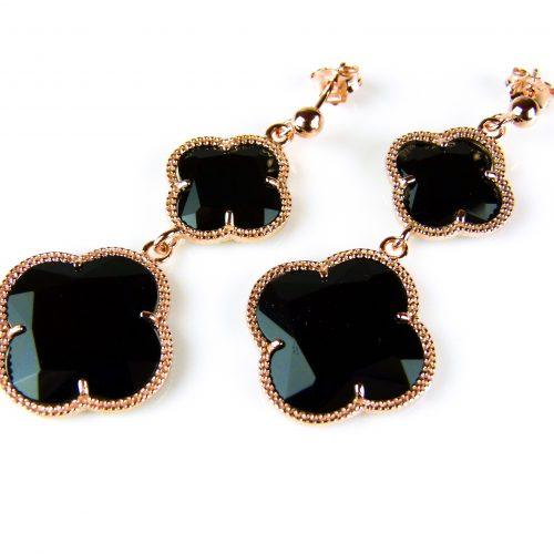 zilveren oorringen oorbellen roosgoud verguld met zwarte stenen bloemen klavers