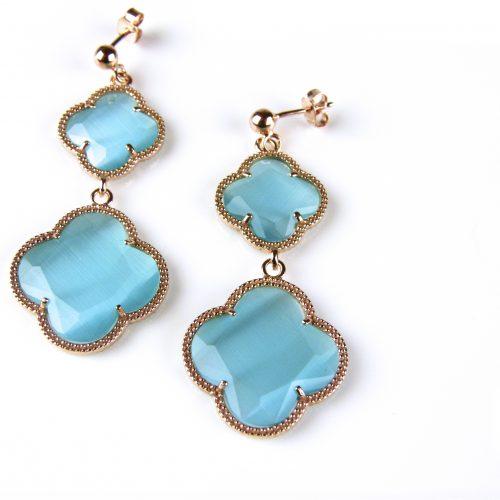 zilveren oorringen oorbellen roosgoud verguld met turkoois blauwe stenen bloemen klavers