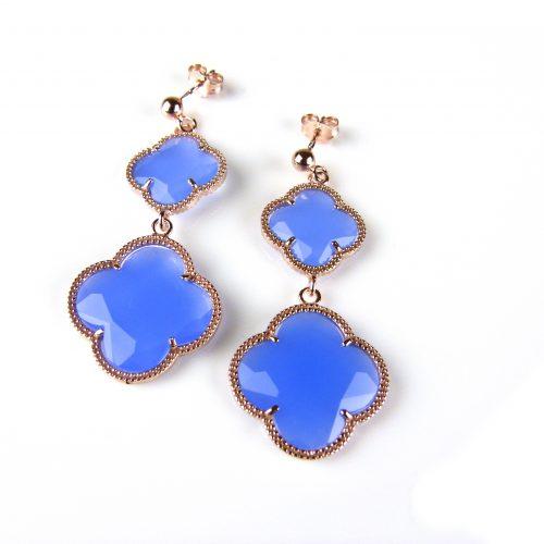 zilveren oorringen oorbellen roosgoud verguld met jeans blauwe stenen bloemen klavers