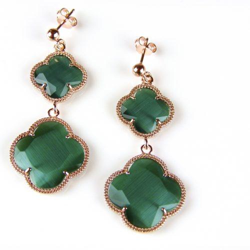 zilveren oorringen oorbellen roosgoud verguld met donker groene stenen bloemen klavers