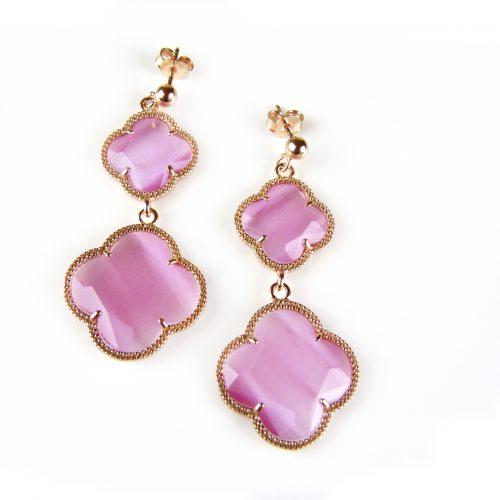 zilveren oorringen oorbellen roosgoud verguld met roze stenen bloemen klavers