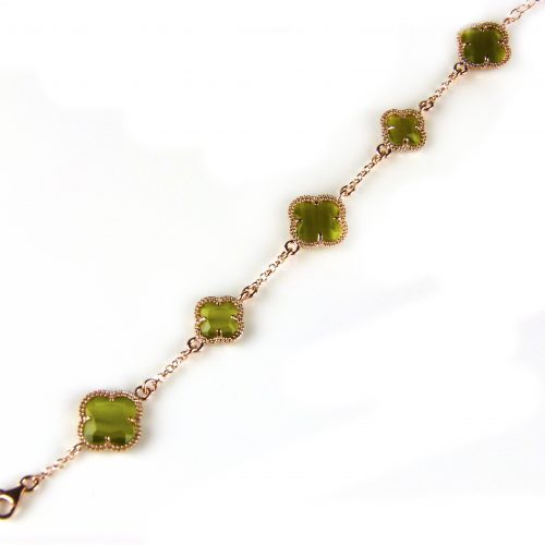 zilveren armband roosgoud verguld met kaki groene stenen bloemen klavers model 5 fiori