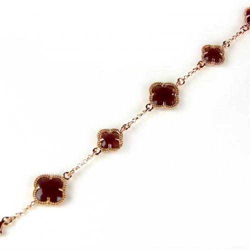 zilveren armband roosgoud verguld met bordeaux stenen bloemen klavers model 5 fiori