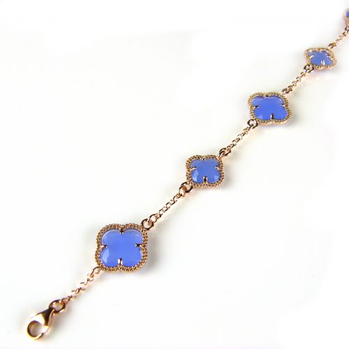 zilveren armband roosgoud verguld met jeans blauwe stenen bloemen klavers model 5 fiori