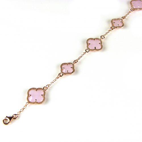 zilveren armband roosgoud verguld met licht roze stenen bloemen klavers model 5 fiori