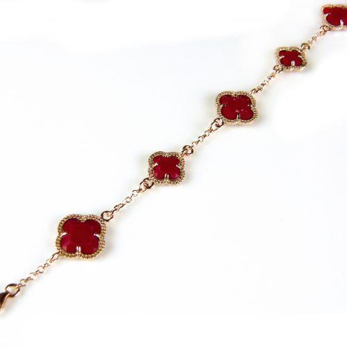 zilveren armband roosgoud verguld met koraal rode stenen bloemen klavers model 5 fiori