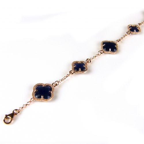 zilveren armband roosgoud verguld met donker blauwe stenen bloemen klavers model 5 fiori