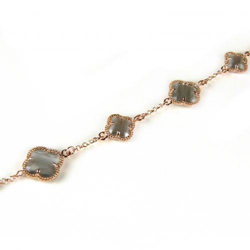 zilveren armband roosgoud verguld met grijze stenen bloemen klavers model 5 fiori