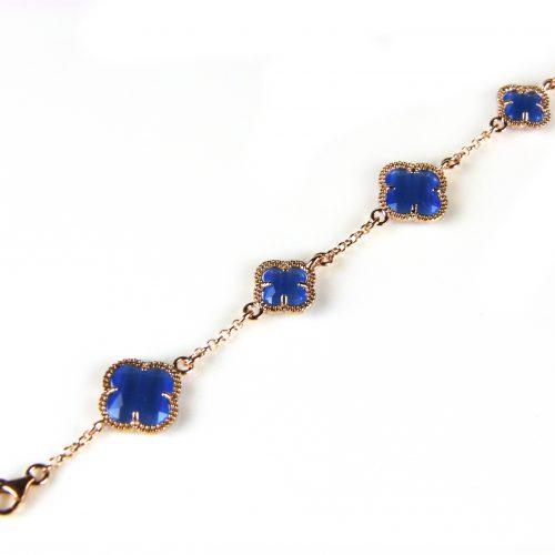 zilveren armband roosgoud verguld met blauwe stenen bloemen klavers model 5 fiori