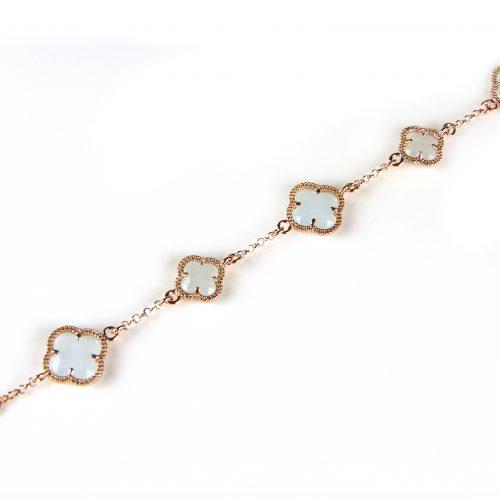 zilveren armband roosgoud verguld met licht blauwe stenen bloemen klavers model 5 fiori