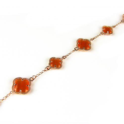 zilveren armband roosgoud verguld met oranje stenen bloemen klavers model 5 fiori