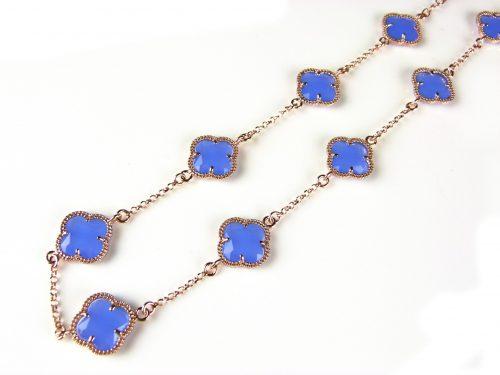 zilveren ketting roos goud verguld met jeans blauwe stenen klavers bloemen
