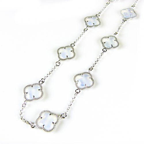zilveren ketting gekleurde stenen opaal bloemen klaver