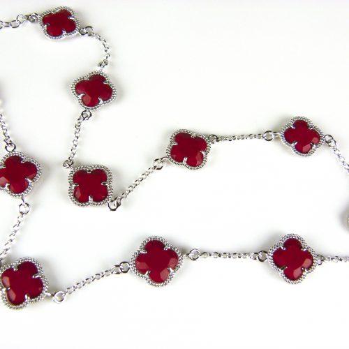 zilveren ketting gekleurde stenen rode bloemen klaver