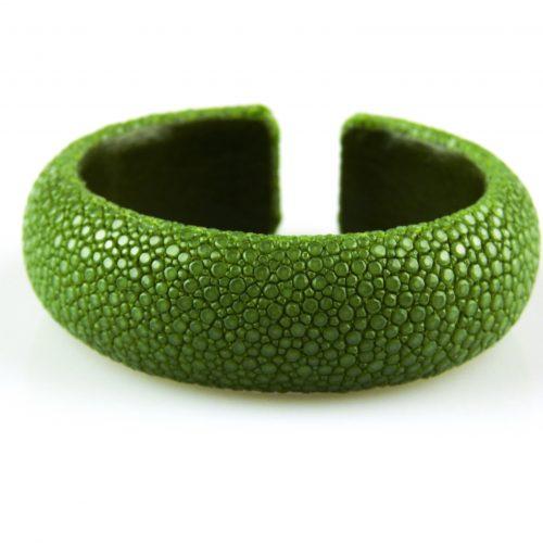 armband in roggeleder roggenhuid 20 mm breed kleur donker groen