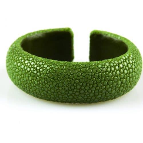 bracelet en cuir de raie galuchat 20 mm large couleur mint