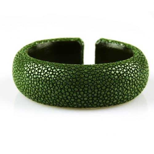 bracelet en cuir de raie galuchat 20 mm large couleur sapin