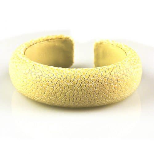 bracelet en cuir de raie galuchat 20 mm large couleur snow