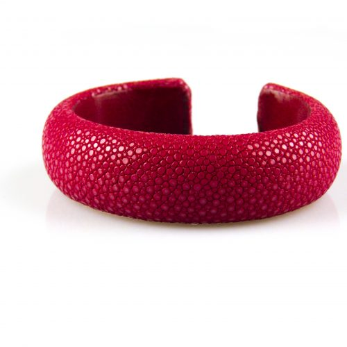 armband in roggeleder roggenhuid 20 mm breed fel rood