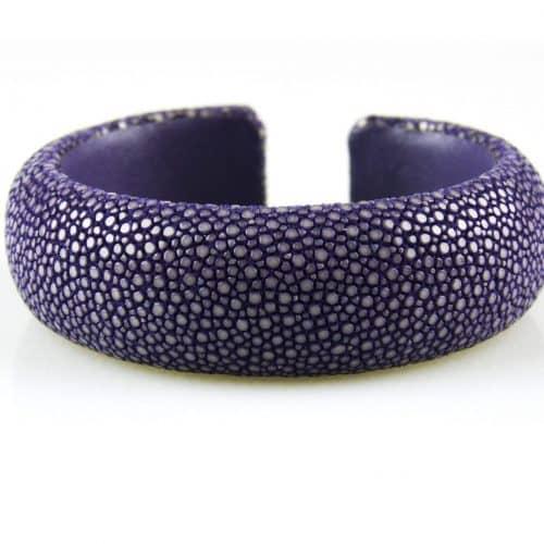 bracelet en cuir de raie galuchat 20 mm large couleur lavender