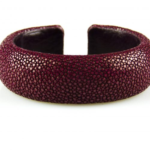 armband in roggeleder roggenhuid 20 mm breed bordeaux