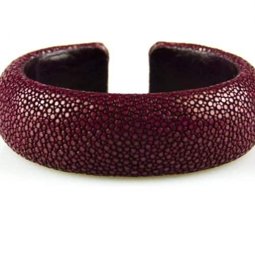 bracelet en cuir de raie galuchat 20 mm large couleur bordeaux