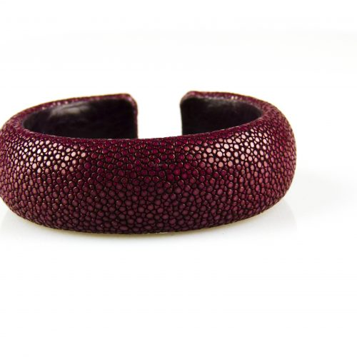 armband in roggeleder roggenhuid 20 mm breed bordeaux