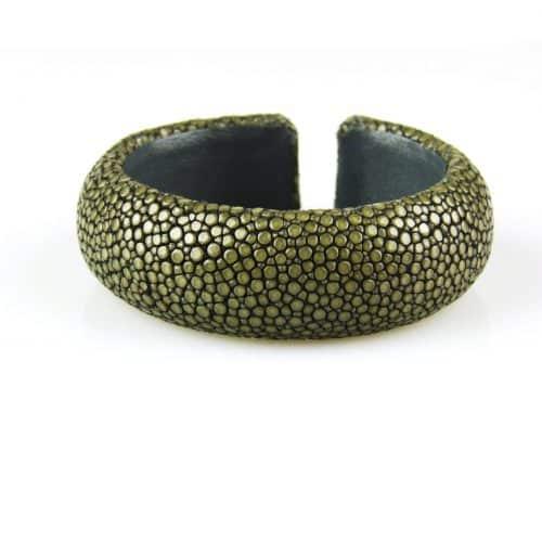 bracelet en cuir de raie galuchat 20 mm large couleur steel