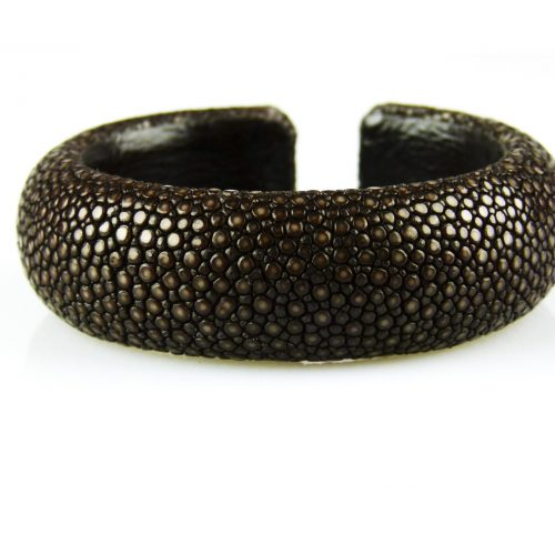 bracelet en cuir de raie galuchat 20 mm large couleur chocolat
