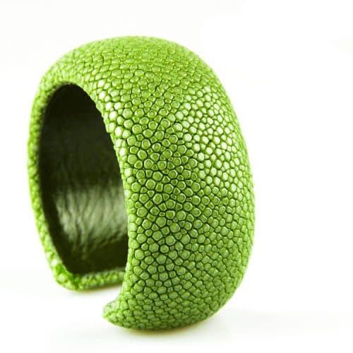bracelet en cuir de raie galuchat 30 mm couleur mint