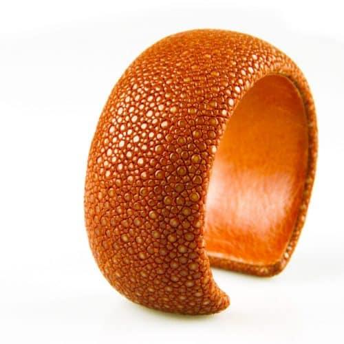 bracelet en cuir de raie galuchat 30 mm couleur cachou